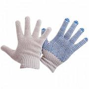 Хозяйственные перчатки х/б белые, ПВХ, синяя точка Москва