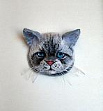 """Брошь """"Серый кот Чебоксары"""